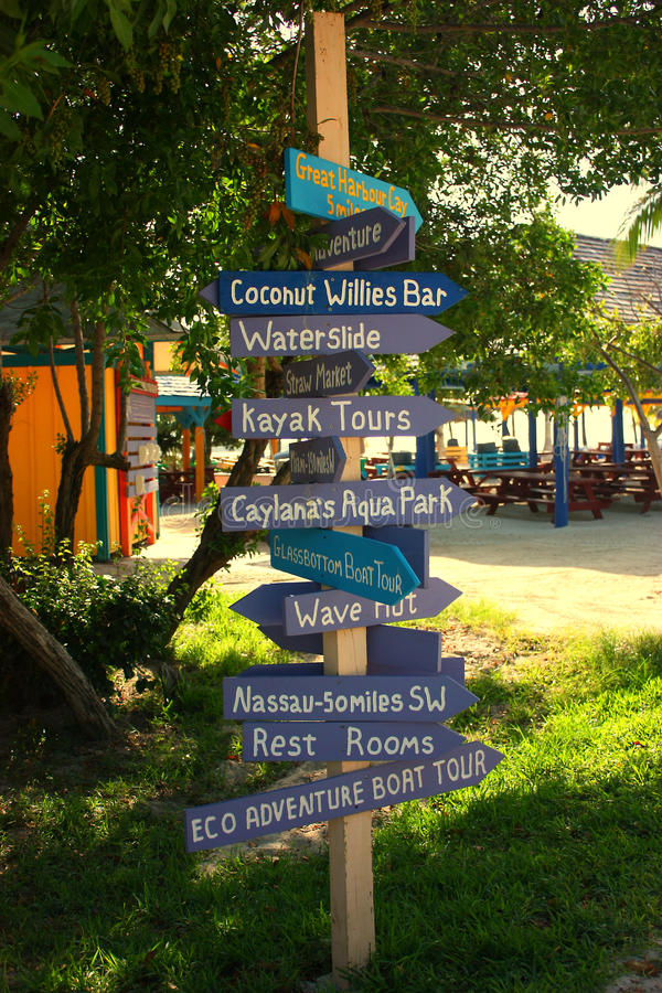 Download Directional Sign Post In Coco Cay Stock Image - Image: 15502881