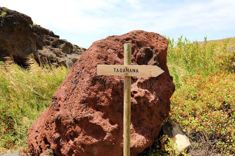 Directional sign to coastal village of Taganana, Tenerife, Canary Islands, Spain. Natural trekking tourism concept royalty free stock photo