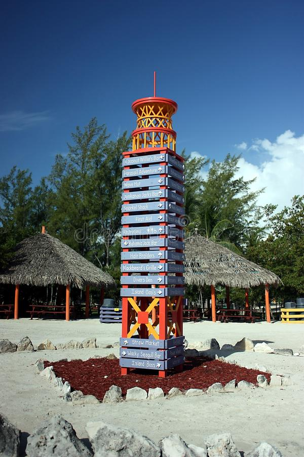 Directional Sign Tower In Coco Cay Stock Photos