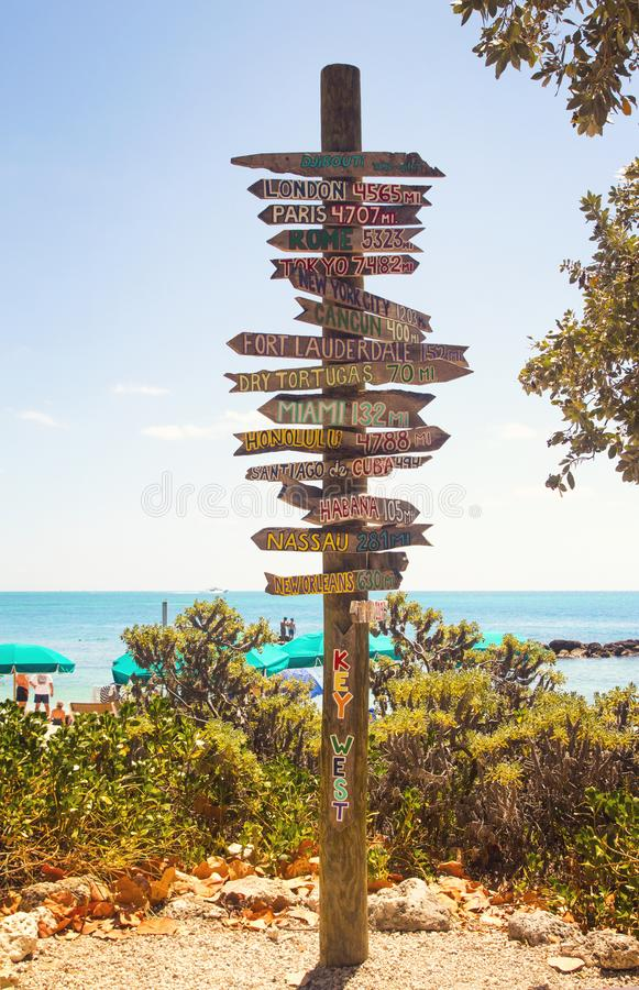 Directional signpost on the southernmost point of USA- Key West, Fort Zachary Taylor Historic State Park tropical sandy beach royalty free stock photos