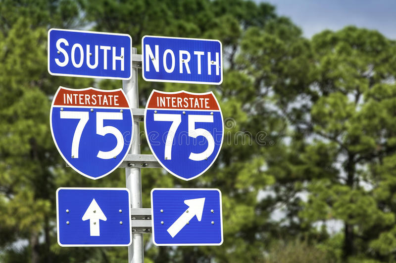Directional signs along US Interstate I-75 in South Florida stock photos