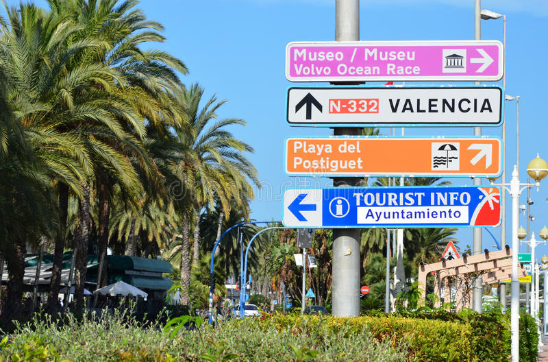 Road Sign - Street Directions Spanish Costa Blanca stock photo