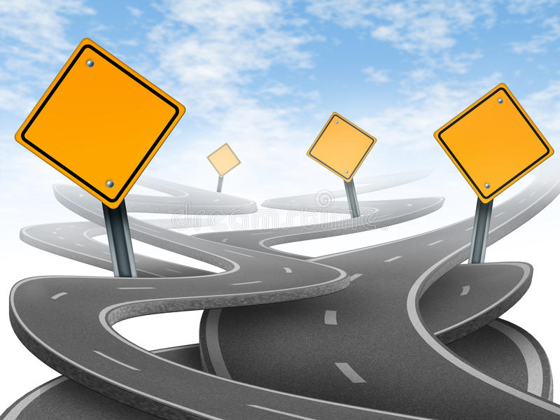 Directions and confusion. Representing dilemma and concept of choosing the right strategic path for business after planning your future represented by blank royalty free illustration