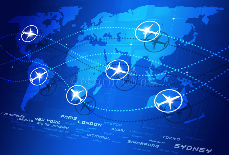 Directions d'aviation du monde illustration stock