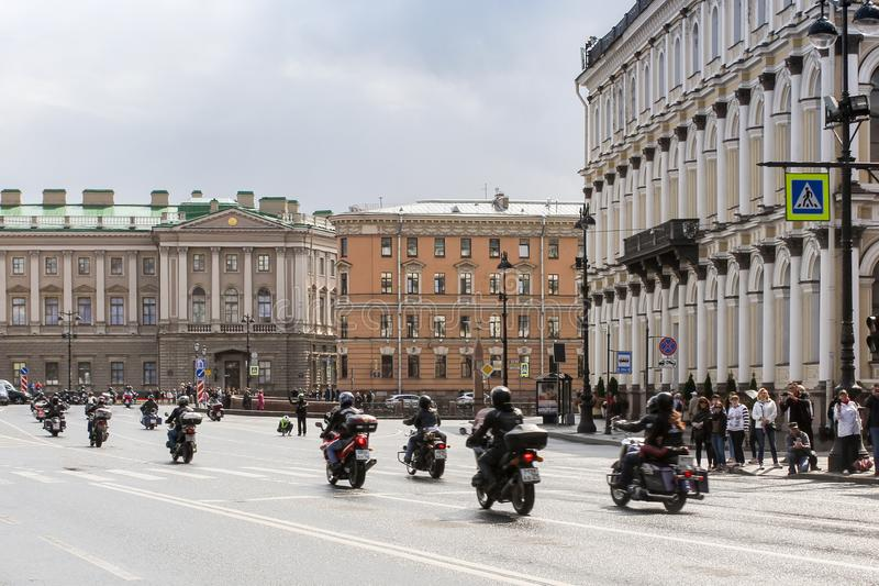Directions motorcyclists in the historical center stock photography