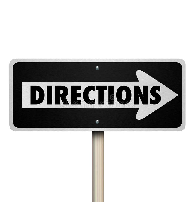 Directions One Way Road Street Sign Instructions Leadership Mana. Directions word on a one way street or road sign to illustrate intructions, leadership stock illustration