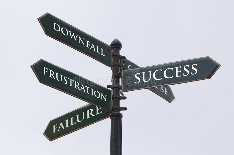 Directions road sign for success. Failure frustration and downfall stock image