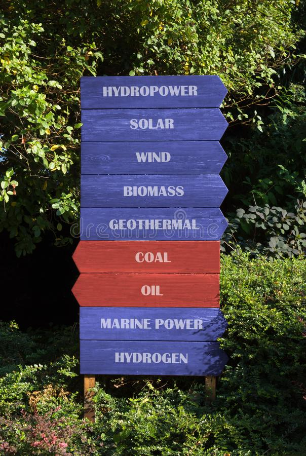 Directions Signs Indicating Energy Sources. Block of nine wooden direction signs on a natural background, seven blue signs indicating the way to renewable stock images