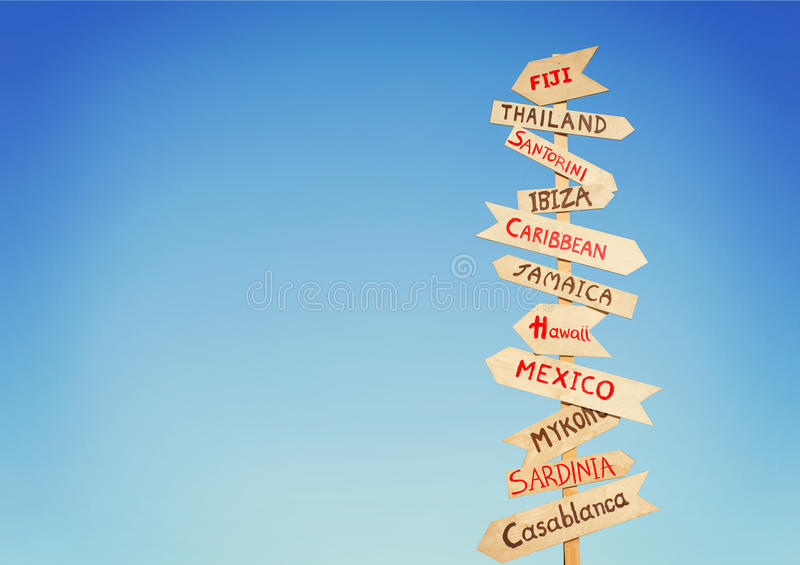 Directions to different places of the world, travel concept royalty free stock images