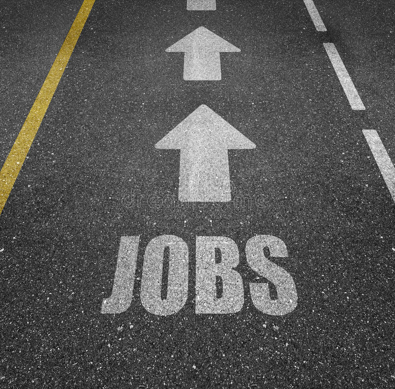 Directions to jobs. A road with the text 'jobs' marked on it with arrows pointing the direction royalty free stock image