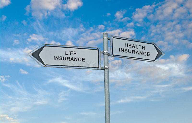 Directions to life and health insurance stock photos