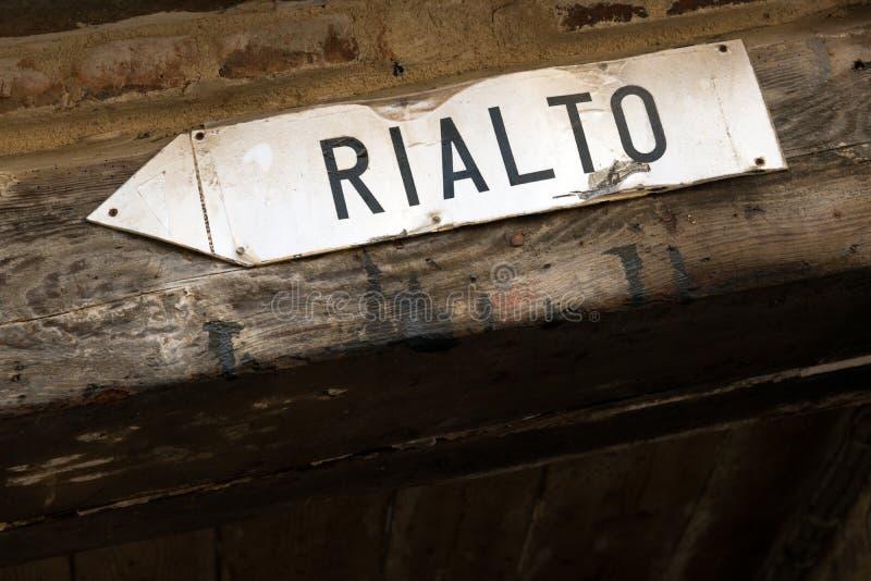 Directions to Rialto bridge stock photos