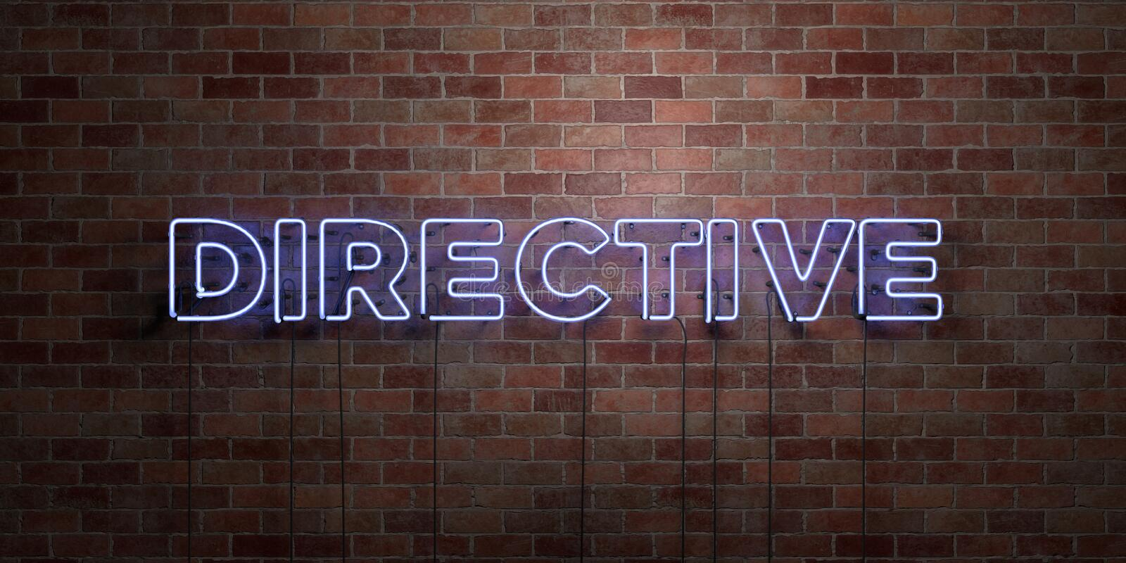 DIRECTIVE - fluorescent Neon tube Sign on brickwork - Front view - 3D rendered royalty free stock picture. Can be used for online banner ads and direct mailers royalty free illustration
