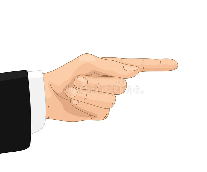 Directive gesture. Hand with directive gesture, on white background stock illustration