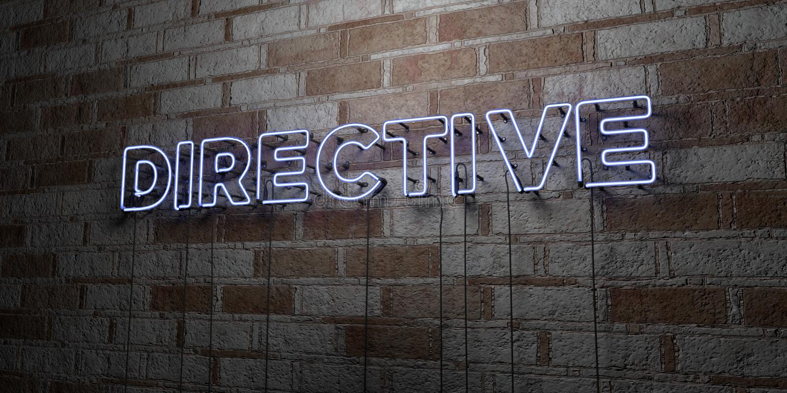 DIRECTIVE - Glowing Neon Sign on stonework wall - 3D rendered royalty free stock illustration. Can be used for online banner ads and direct mailers vector illustration