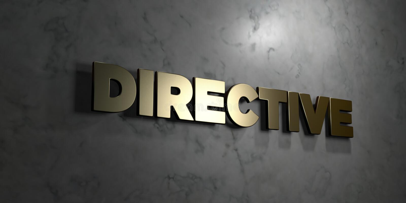 Directive - Gold text on black background - 3D rendered royalty free stock picture. This image can be used for an online website banner ad or a print postcard vector illustration