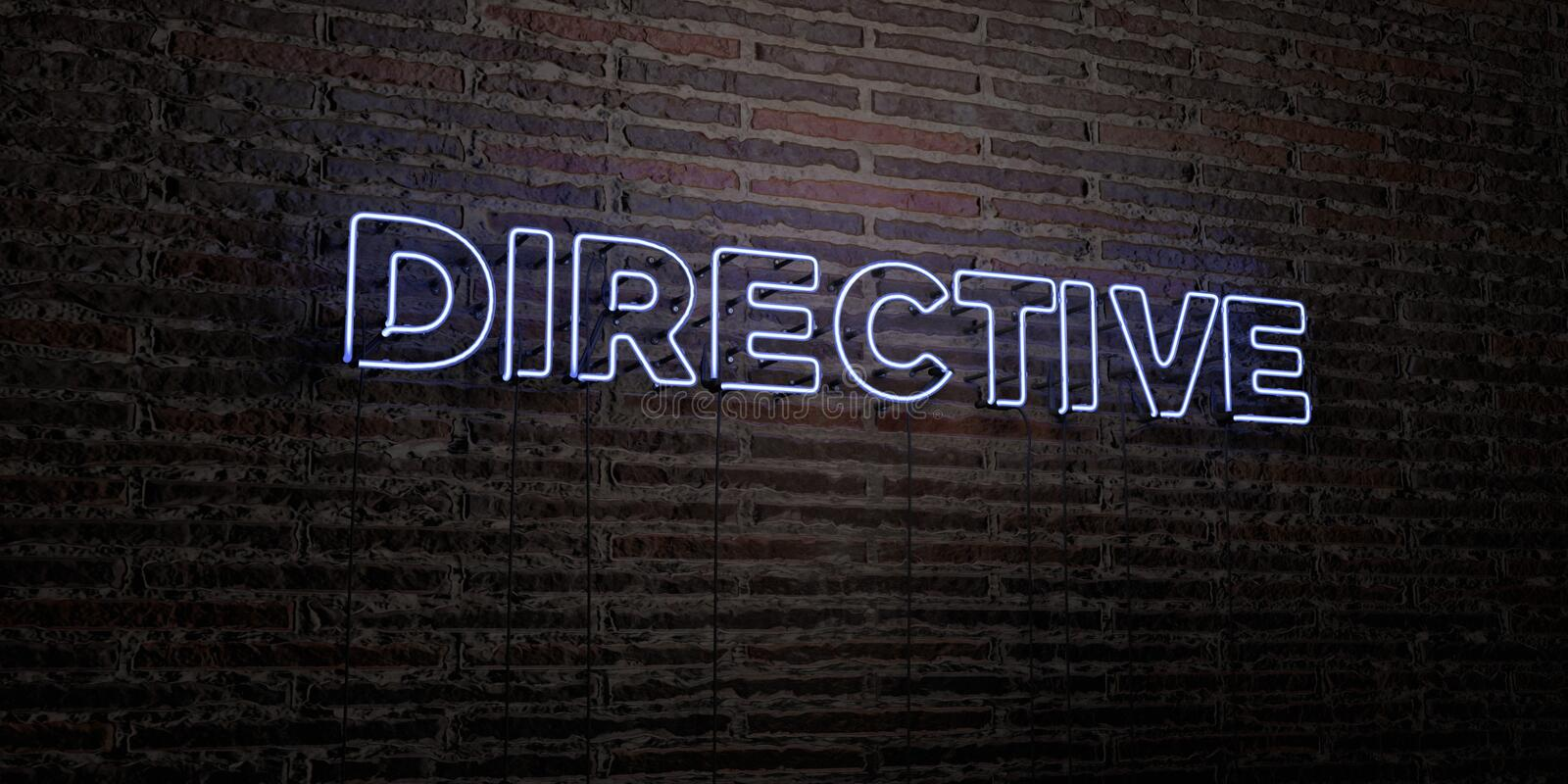 DIRECTIVE -Realistic Neon Sign on Brick Wall background - 3D rendered royalty free stock image. Can be used for online banner ads and direct mailers stock illustration