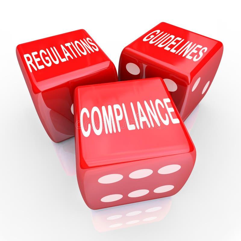 Directives de règlements de conformité trois mots de matrices illustration de vecteur