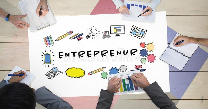 Directly above shot of business people working at table with entrepreneur chart. Digital composite of Directly above shot of business people working at table vector illustration