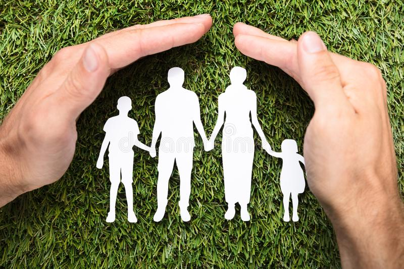 Businessman`s Hands Covering Paper Family On Grass. Directly above shot of businessman`s hands covering paper family on grass royalty free stock images
