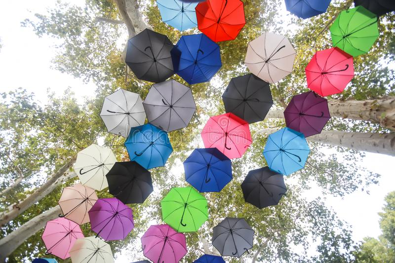 Colorful umbrellas floating in air stock photography