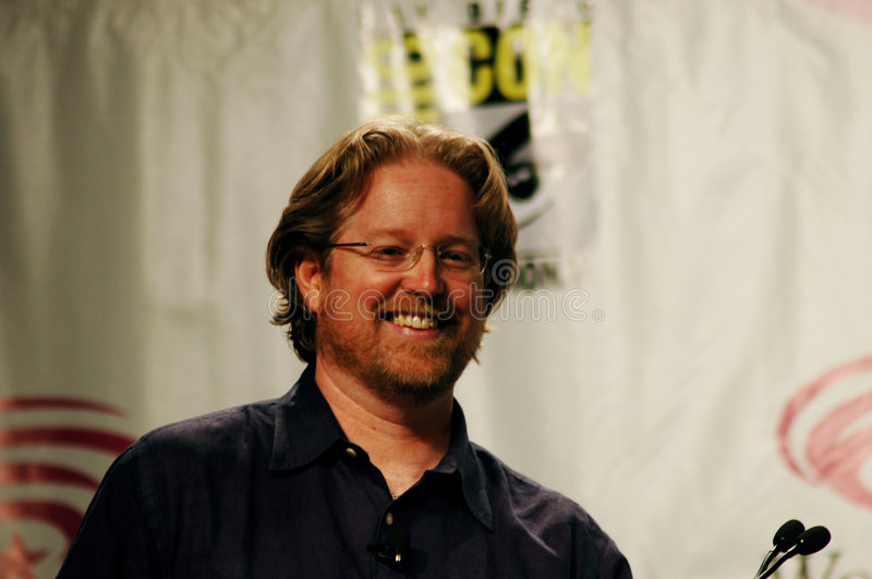 Director Andrew Stanton. Smiles as he answers fan questions during Pixar's WALL-E panel at San Francisco's WonderCon. Photo taken: 23 February 2008 royalty free stock images