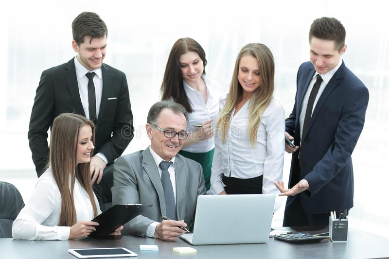 Director and business team looking at laptop screen. Office weekdays royalty free stock images