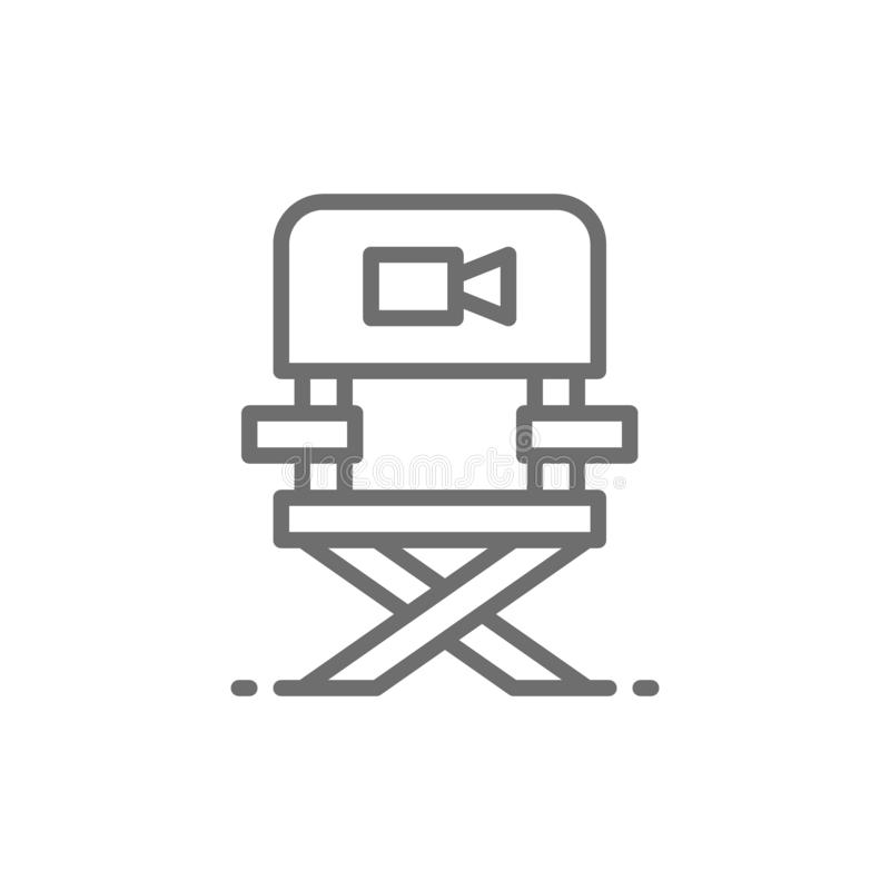 Director chair, casting, film direction, movie producing line icon. vector illustration