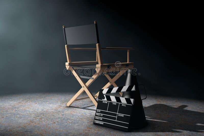 Director Chair, chapaleta de la película y megáfono en el li volumétrico ilustración del vector