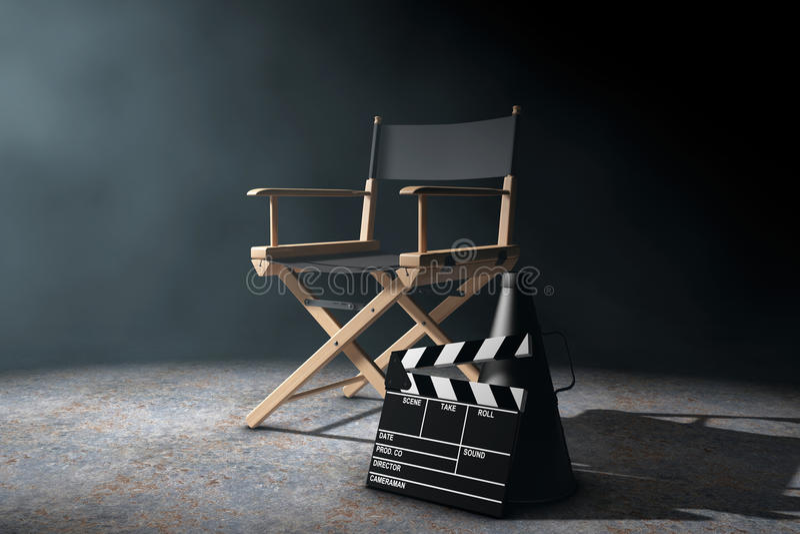 Director Chair, chapaleta de la película y megáfono en el li volumétrico stock de ilustración