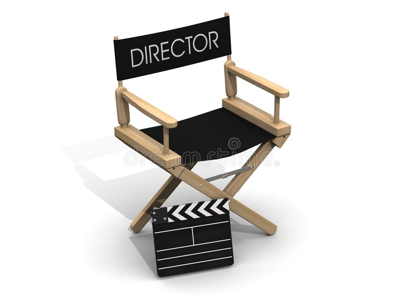 Director chair with clapperboard stock illustration