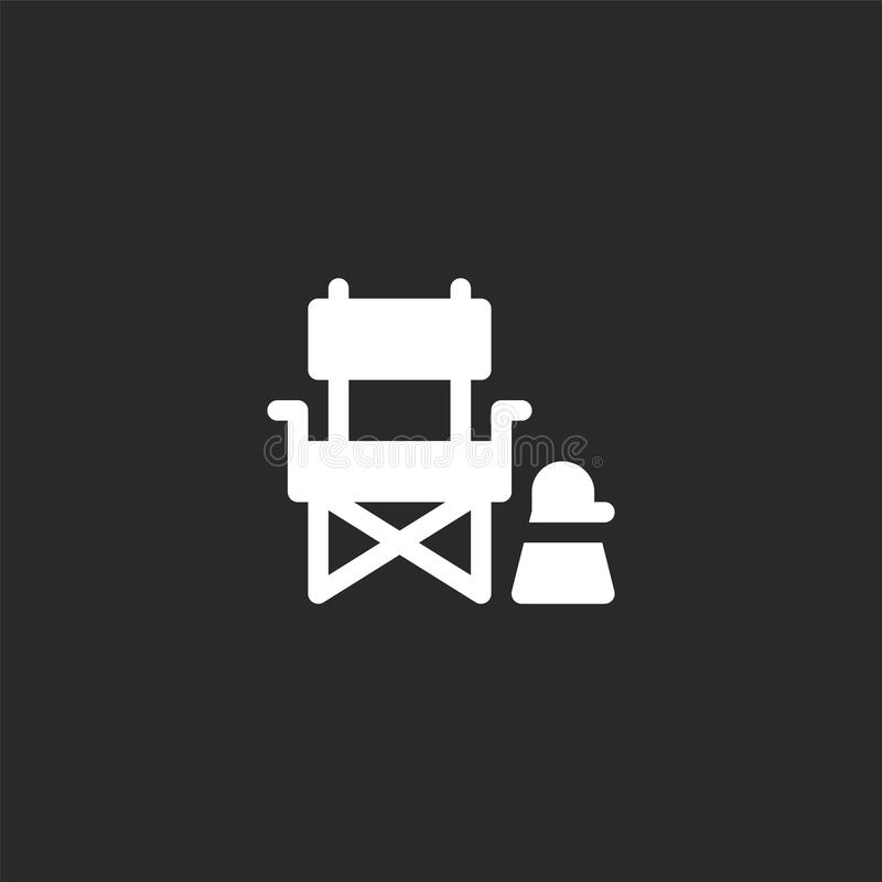 Director chair icon. Filled director chair icon for website design and mobile, app development. director chair icon from filled. Fame collection isolated on stock illustration