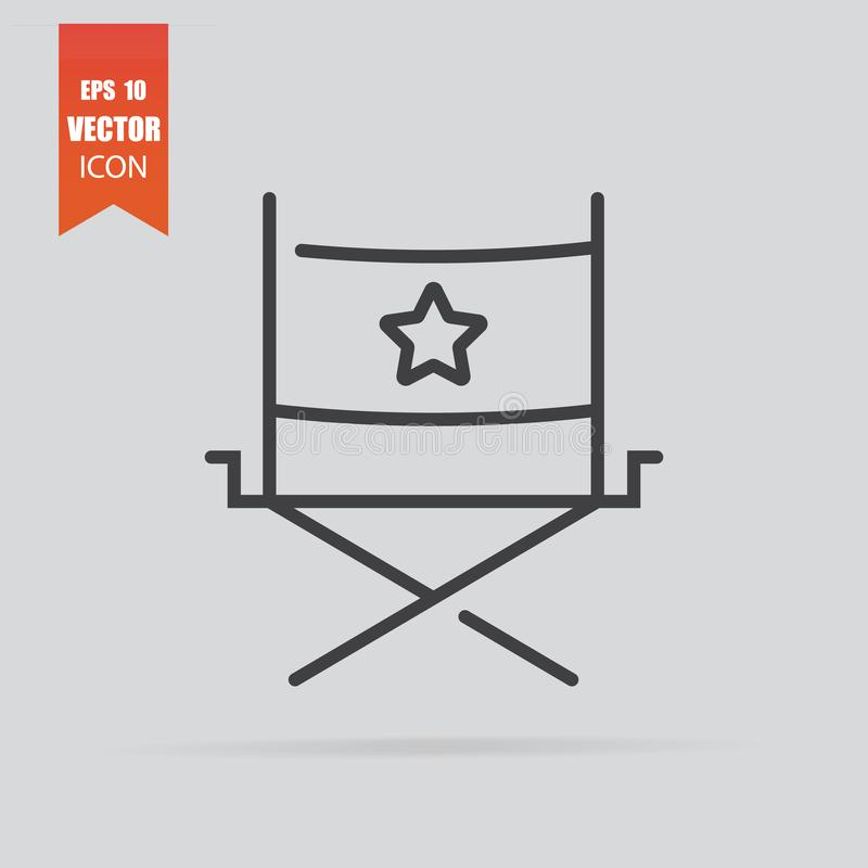 Director chair icon in flat style isolated on grey background stock photo