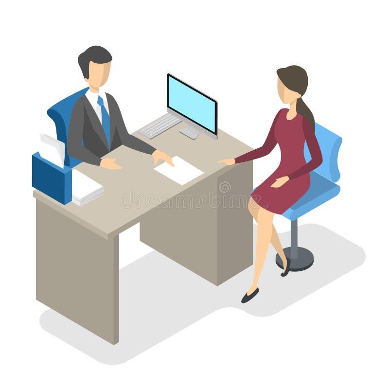 Director de banco en la oficina con el cliente ilustración del vector