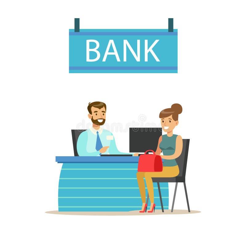 Director de banco At His Desk y el cliente Servicio de banco, administración de cuentas y vector temático de los asuntos financie libre illustration