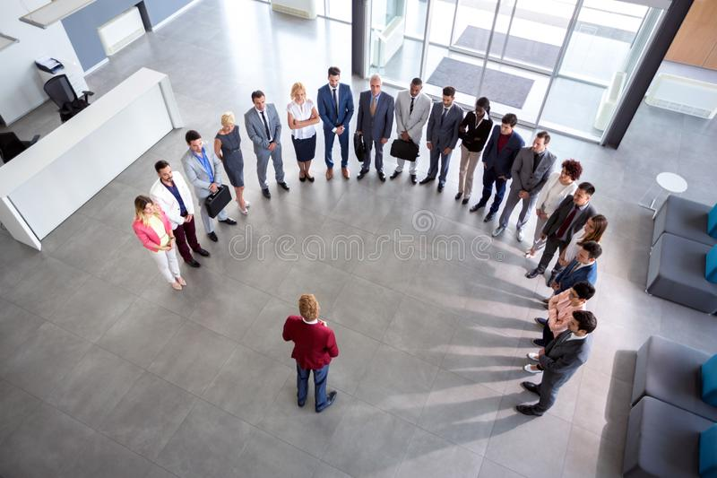 Director hold company meeting, semicircle concept stock photos