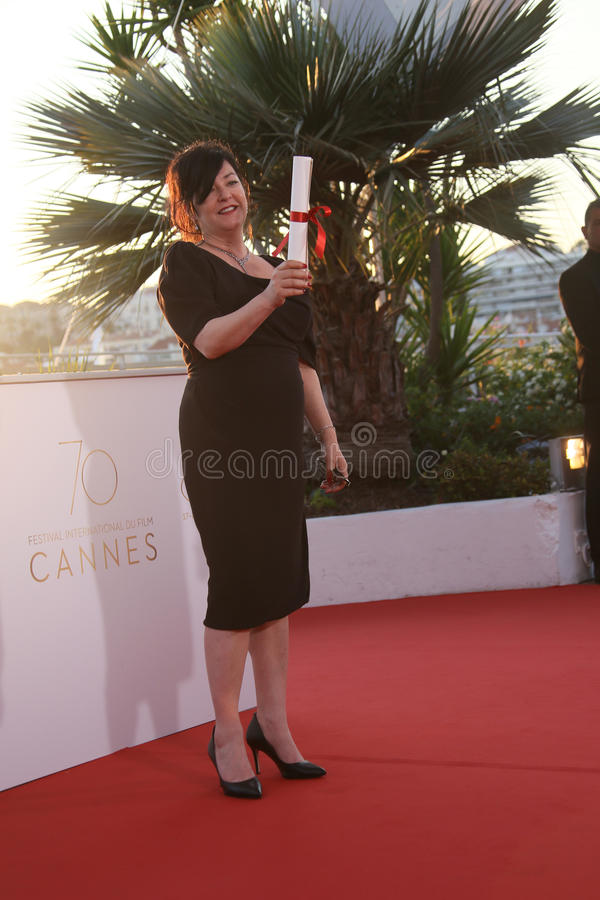 Director Lynne Ramsey. At the Palme D`Or winner photocall during the 70th annual Cannes Film Festival at Palais on May 28, 2017 in Cannes, France stock images