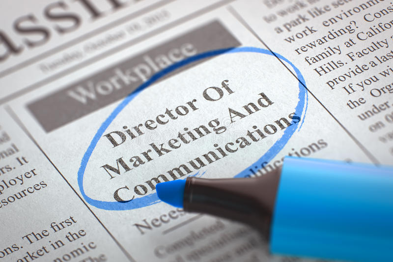 Director Of Marketing And Communications Hiring Now. 3D. Newspaper with Vacancy Director Of Marketing And Communications. Blurred Image. Selective focus. Hiring royalty free stock image