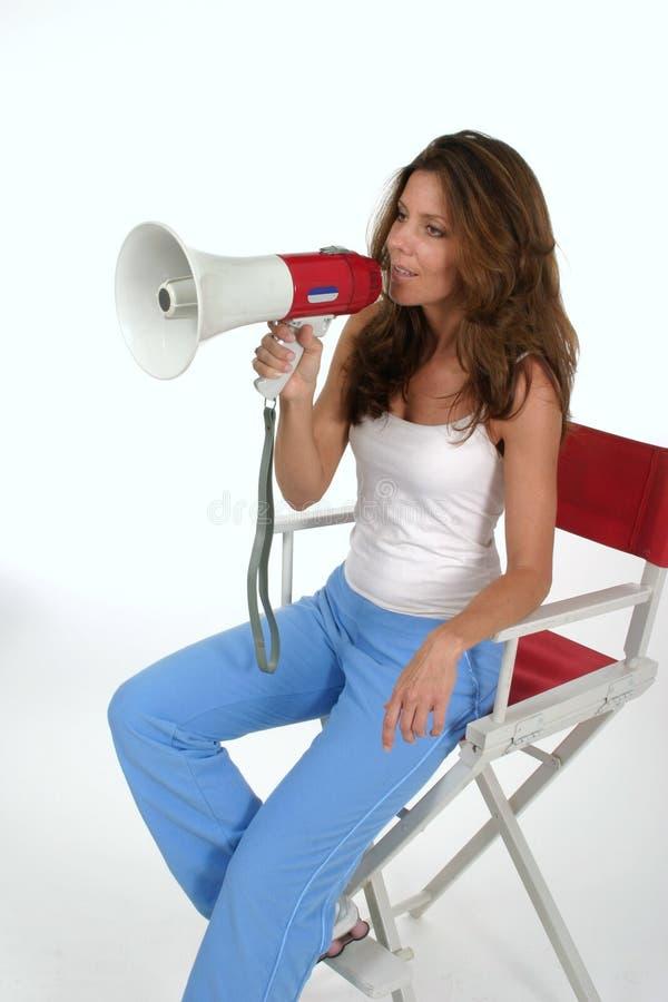 Director With Megaphone 2 de la mujer foto de archivo