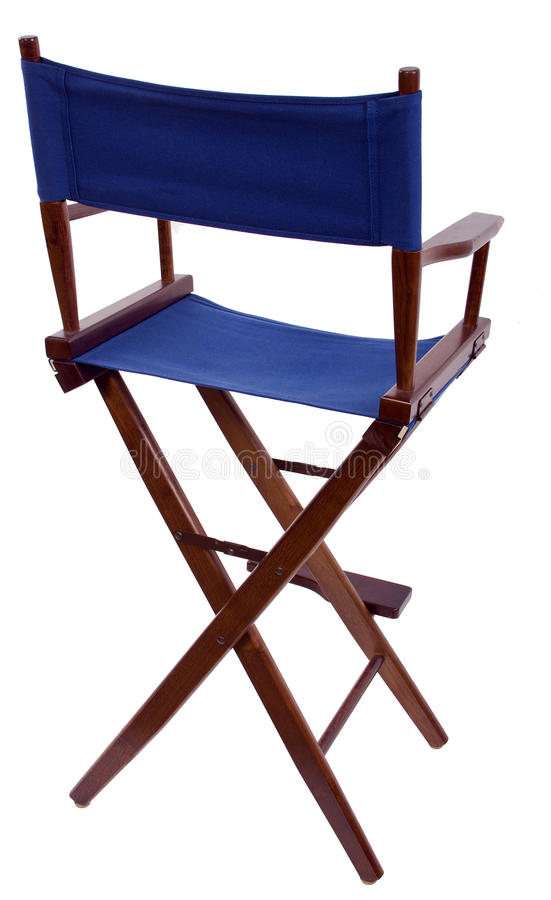 Director's Chair. Blue directors chair isolated on a white background royalty free stock images