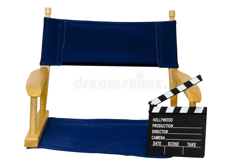 Director's Chair with Clapboard Isolated Closeup. On white background with clipping path stock photography