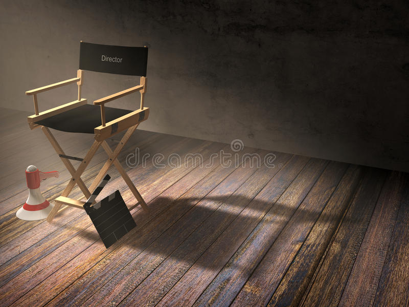 Director`s chair with clapper board and megaphone in dark room scene with spotlight light. 3D rendering royalty free stock photo