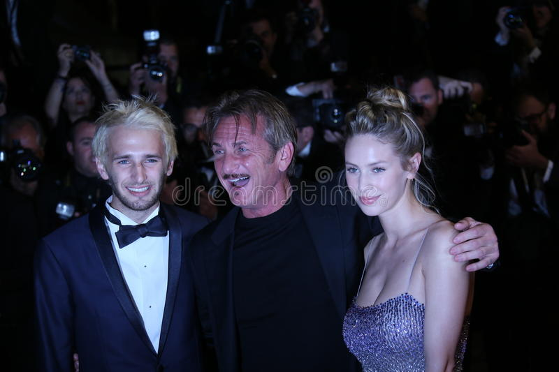 Director Sean Penn. His son Hopper Penn and daughter, Dylan Penn attend 'The Last Face' Premiere during the 69th Cannes Film Festival at the Palais on May 20 stock photography