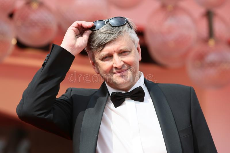 Director Sergei Loznitsa attends `Process` red carpet. During the 75th Venice Film Festival at Sala Casino on September 7, 2018 in Venice, Italy royalty free stock photo