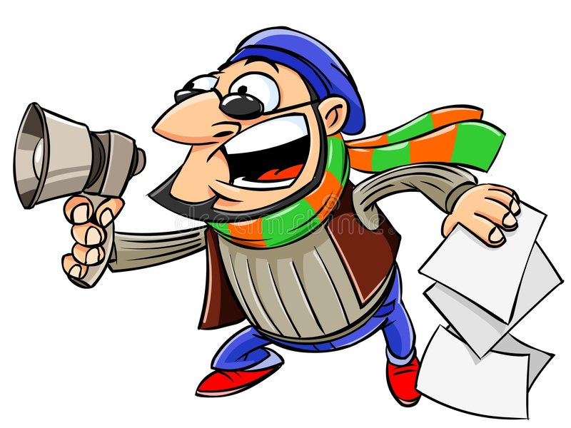 Director shout in a megaphone. Illustration of movie director with sheets scenario shout in a megaphone. Isolated royalty free illustration