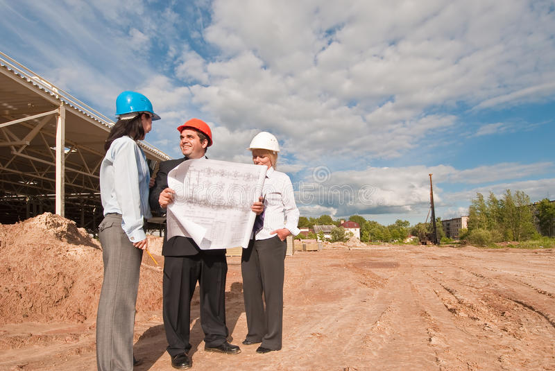 Download Director With Subordinates On Construction Site Stock Image - Image: 9867895