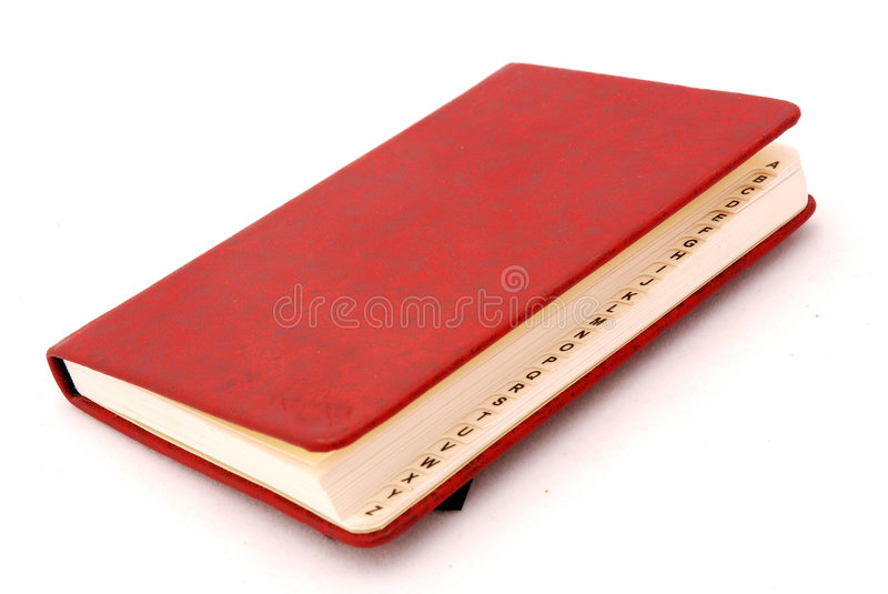 Directory. A red directory book with capital letters. Image isolated on white studio background stock photos