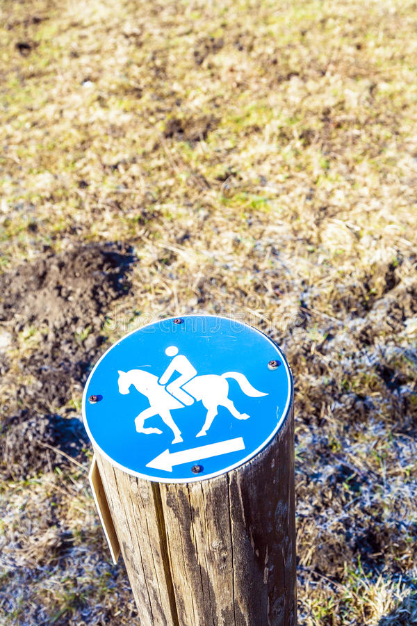 Directory for horsemen. Attached on a stump royalty free stock image