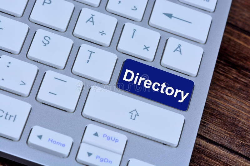 Directory on keyboard button. Directory on computer keyboard button stock images