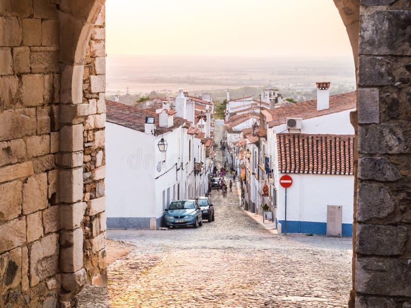 Direita Street in Estremoz, Evora district, Portugal, at sunset royalty free stock photography